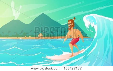 Surfer ride on surfboard. Summer vacation.Vector illustration