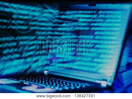 Horizontal interlaced futuristic laptop data abstraction background