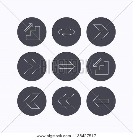 Arrows icons. Upstairs, downstairs and repeat linear signs. Next, back arrows flat line icons. Flat icons in circle buttons on white background. Vector