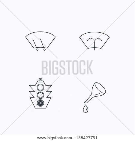 Motor oil change, traffic lights and wiper icons. Washing window, windscreen wiper linear signs. Flat linear icons on white background. Vector