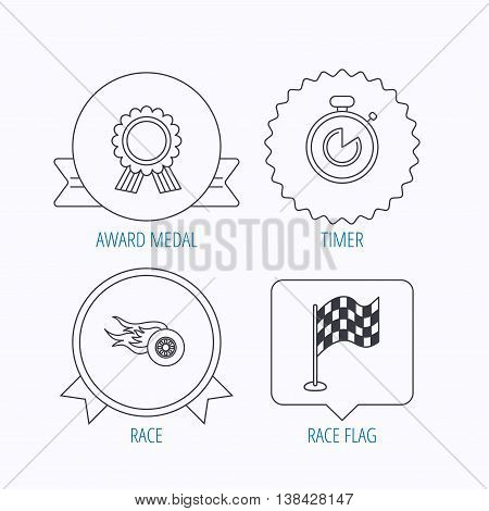 Race flag, winner medal and timer icons. Wheel on fire linear sign. Award medal, star label and speech bubble designs. Vector