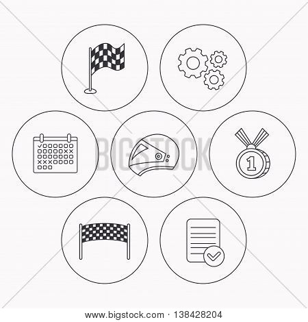 Race flag, checkpoint and motorcycle helmet icons. Winner award medal linear signs. Check file, calendar and cogwheel icons. Vector