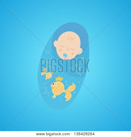 baby in diapers with a pacifier. horoscope baby pisces