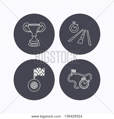 Winner cup, race timer and flag icons. Travel time linear sign. Flat icons in circle buttons on white background. Vector