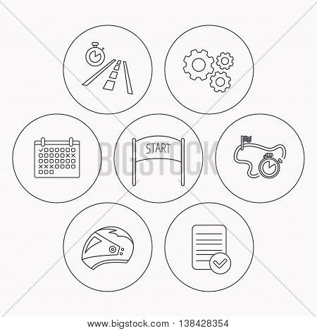 Motorcycle helmet, race timer and travel time icons. Start race linear sign. Check file, calendar and cogwheel icons. Vector
