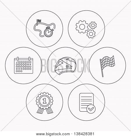 Race flag, motorcycle helmet and award medal icons. Start or finish flag linear sign. Check file, calendar and cogwheel icons. Vector