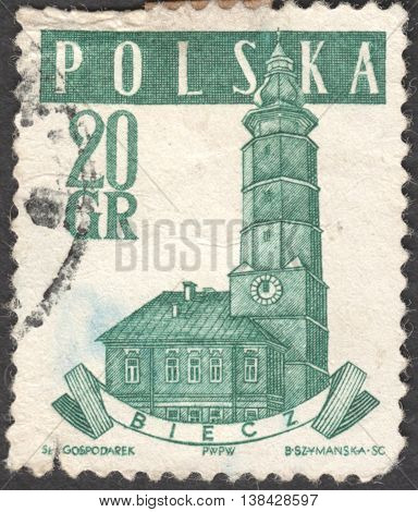 MOSCOW RUSSIA - CIRCA JANUARY 2016: a post stamp printed in POLAND shows a Town Hall Biecz the series