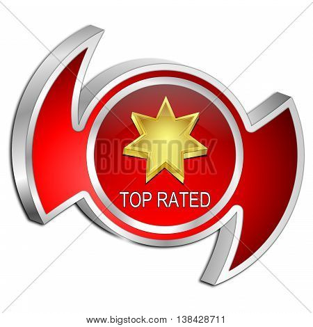 decorative red Top Rated Button - 3D illustration