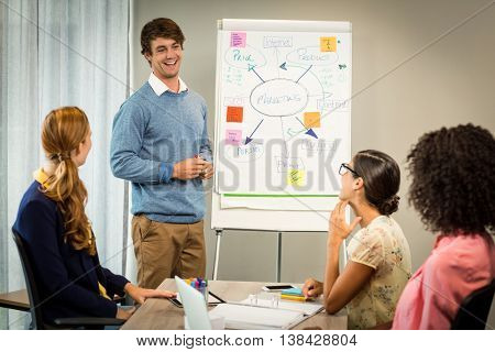 Man discussing flowchart on white board with coworkers in the office