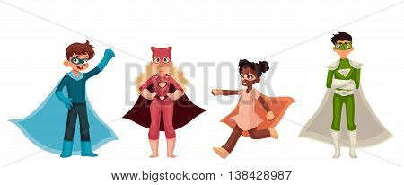 Superhero kids cartoon style vector illustration isolated on white background. Boys and girls in superhero costumes playing superpower, children in superhero fancy dresses