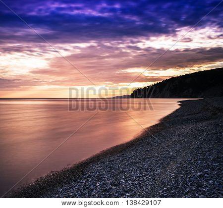 Horizontal Dramatic Sunset On Stony Beach Background Backdrop