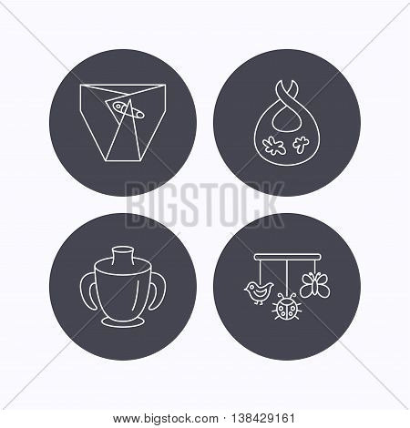 Diapers, child mug and baby toys icons. Dirty bib linear sign. Flat icons in circle buttons on white background. Vector