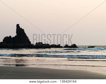 Horizontal Dusk Ocean Rock Tidal Waves Background Backdrop