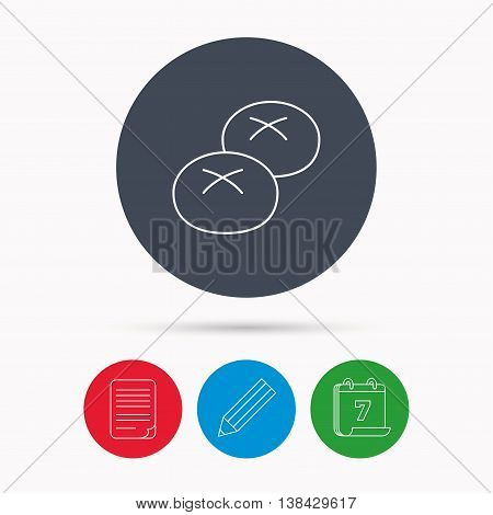 Bread rolls or buns icon. Natural food sign. Bakery symbol. Calendar, pencil or edit and document file signs. Vector