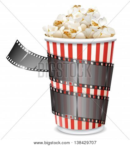paper bag with popcorn and movie reel vector illustration isolated on white background