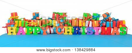 Happy Christmas Colorful Text And Varicolored Gifts