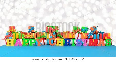 Happy Christmas Colorful Text On The Background Of Varicolored Gifts