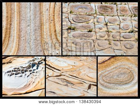 Photo Collage of various Australian rock formation background sandstone texture with iron traces in australia devonian stones