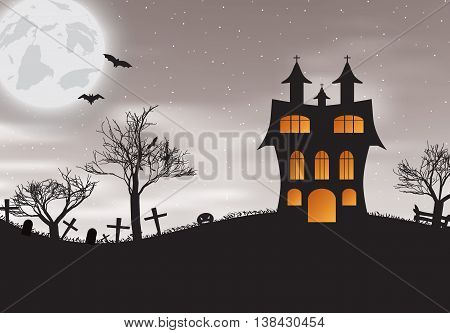Vector illlustration of Halloween night background with castle, bats  and pumpkins