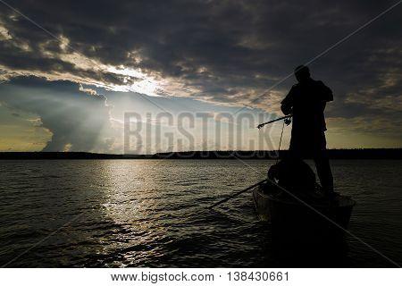 Horizontal Vivid Evening Boat Fishing Fisherman Back Sunset Land
