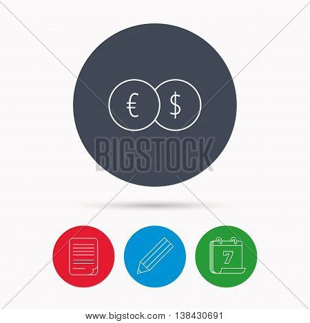Currency exchange icon. Banking transfer sign. Euro to Dollar symbol. Calendar, pencil or edit and document file signs. Vector