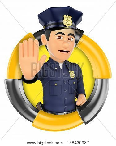3d logo illustration. Policeman ordering to stop with hand. Isolated white background.