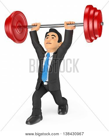 3d business people illustration. Businessman lifting weights. Isolated white background.