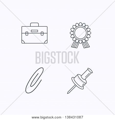 Award medal, pushpin and briefcase icons. Safety pin linear sign. Flat linear icons on white background. Vector
