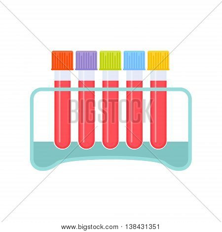 Test tube medical set. Kit of laboratory test tube rack and blood test tubes with various colored tops. Medical equipment isolated on white. Medical concept. Vector illustration.