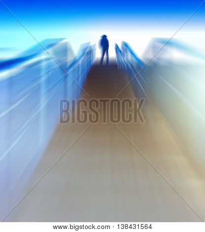 Vertical futuristic  color light leak vibrant man back motion running upstairs abstraction background backdrop