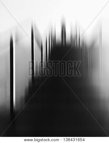 Vertical futuristic black and white alien standing on top upstairs abduction abstraction background backdrop