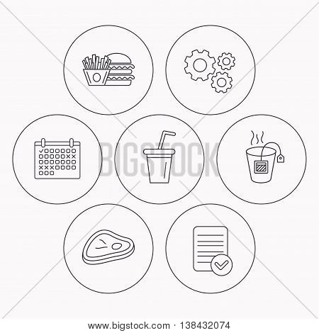 Hamburger, meat and soft drink icons. Tea bag linear sign. Check file, calendar and cogwheel icons. Vector