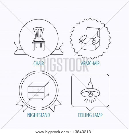 Ceiling lamp, nightstand and armchair icons. Chair linear sign. Award medal, star label and speech bubble designs. Vector
