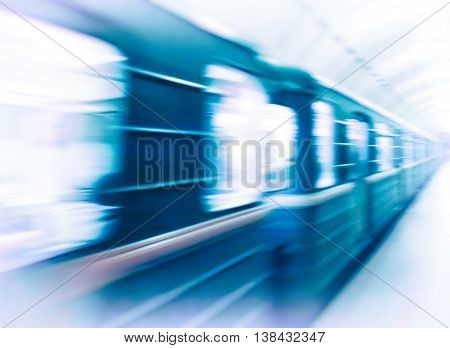 Vignette metro train in motion abstraction background