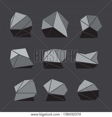 Rock stone isometric view set 3d flat style eps10