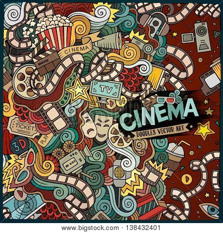 Cartoon cute doodles hand drawn cinema frame design. Colorful detailed, with lots of objects background. Funny vector illustration. Bright colors border with movie theme items