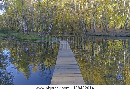 Pond with foot bridge. Reflection of trees in water. Sunny day in mid-October. Moscow Russia.