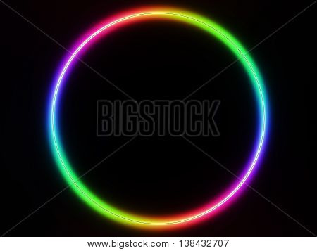 Colorful Vivid Spectrum Ring On Black Background