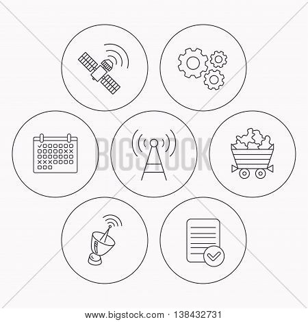 Telecommunication, minerals and antenna icons. GPS satellite linear sign. Check file, calendar and cogwheel icons. Vector