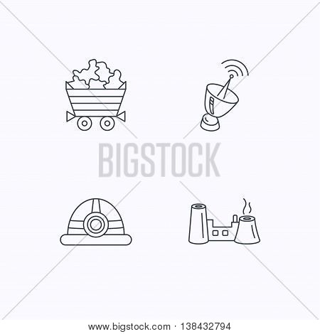 Antenna, minerals and engineering helm icons. Factory linear sign. Flat linear icons on white background. Vector