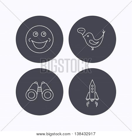 Rocket, social media and search icons. Smiling face linear sign. Flat icons in circle buttons on white background. Vector