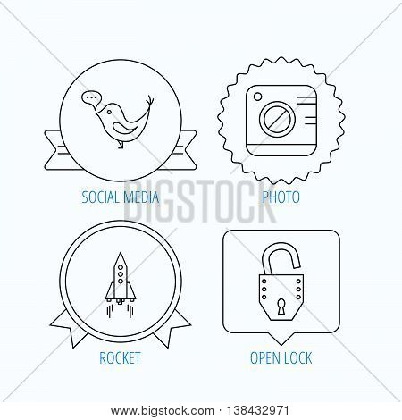 Photo, social media and rocket icons. Open lock linear sign. Award medal, star label and speech bubble designs. Vector