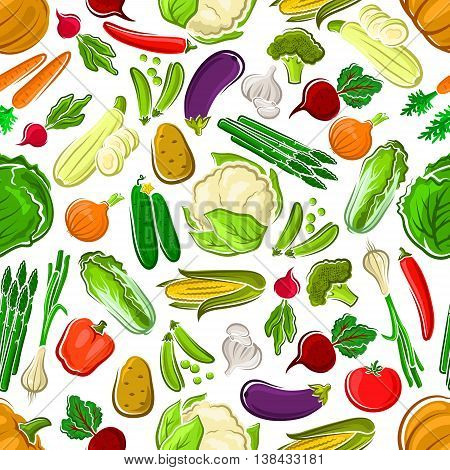 Healthy and raw farm vegetables seamless pattern. Potato and succulent carrot, tasty tomato and bitter radish, orange pumpkin and red bell pepper, pea pod and luscious cucumber, garlic and corn cob, cabbage and broccoli, asparagus, and daikon.