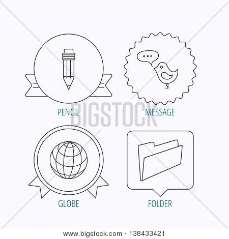 Pencil, message and world globe icons. Folder linear sign. Award medal, star label and speech bubble designs. Vector