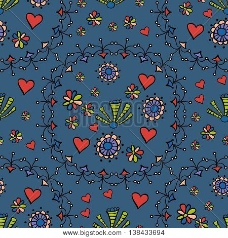 Hand drawn seamless pattern with floral elements. Colorful ethnic background. Pattern can be used for fabric, wallpaper or wrapping. Stock vector illustration.