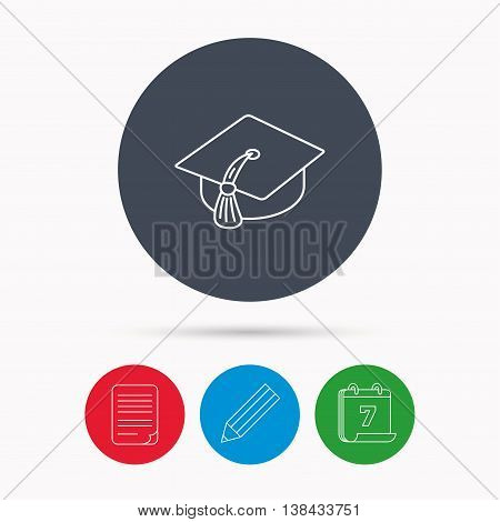 Graduation cap icon. Diploma ceremony sign. Calendar, pencil or edit and document file signs. Vector