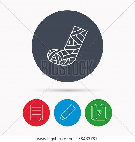 Gypsum or cast foot icon. Broken leg sign. Human recovery medicine symbol. Calendar, pencil or edit and document file signs. Vector