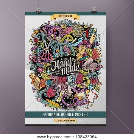 Cartoon colorful hand drawn doodles Handmade poster template. Very detailed, with lots of objects illustration. Funny vector artwork. Corporate identity design.