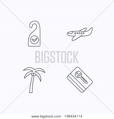 Palm tree, air-plane and e-key icons. Clean room linear sign. Flat linear icons on white background. Vector