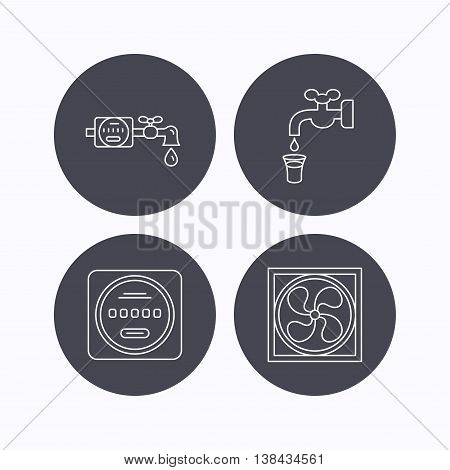 Ventilation, water counter icons. Save water, counter linear signs. Flat icons in circle buttons on white background. Vector